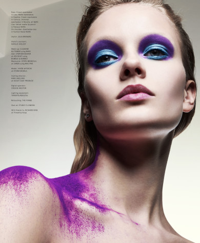 Volt Magazine, Pink Lips, Bleached Eyebrows, Purple Pigment, Blue Eyeshadow, Purple Eyeshadow, Grunge Makeup, Vivien Wysocki, Nars