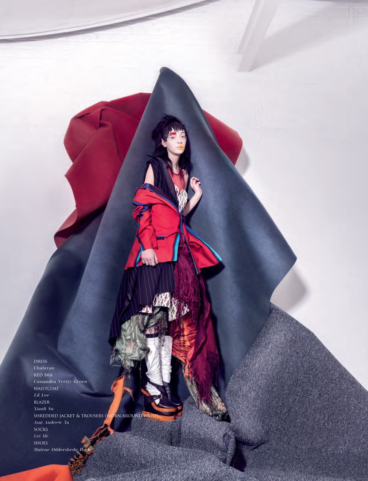 Abundance,Vision China Magazine, Madame Peripetie, Leah Miligan, Graphic Makeup, Yellow Lip, Red Eyebrow, Polka dot