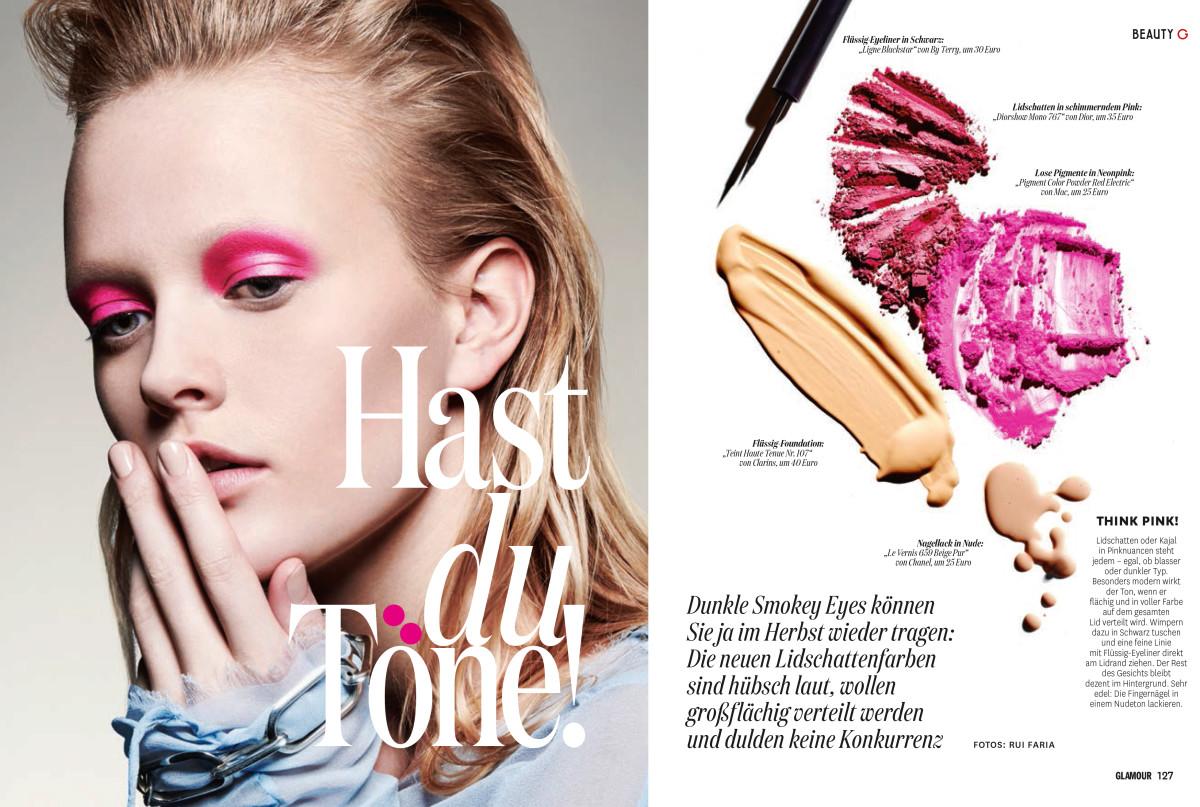 German Glamour, Rui Faria, Nars, Vivien Wysocki, Beauty Story, Bright Makeup, Colour Block Makeup, Pink Eyeshadow, Purple Eyeshadow, Orange Eyeshadow, Citrus Eyemakeup,