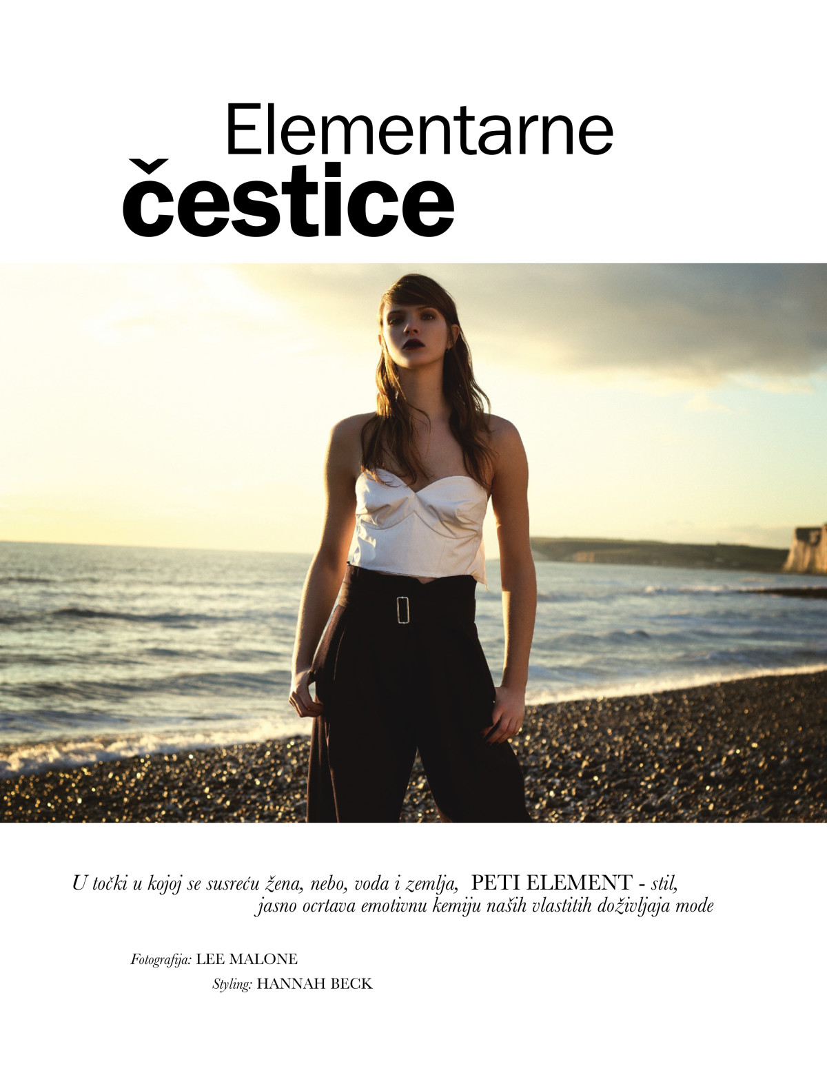 Elle Croatia, Xannie Cater by Lee Malone, Hannah Beck, Claudine Blythman makeup, Stelios Chondros, Beachy Head, Lady with the Lamp, Elle, Sunset, Beach story, white cliffs, red wine lips, statement lip