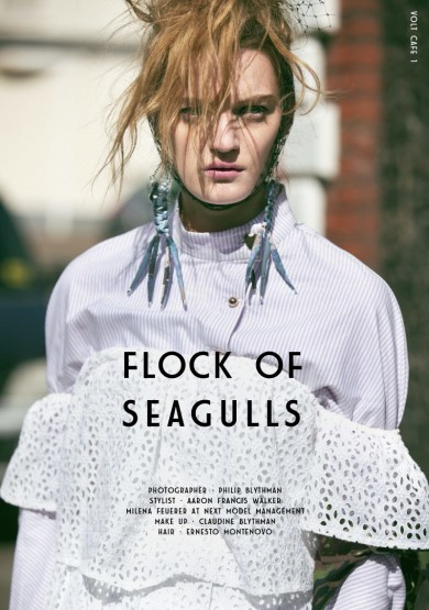 Flock of Seagulls by Philip Blythman, Volt Magazine, Volt Cafe, Milena Feuerer, Margate Beach, Seaside , Kent, Mac cosmetics, Chromaline, Black eyeshadow, Pink Lips, 90's Raver, Seaside,