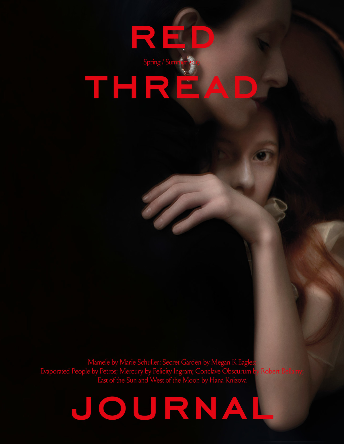 red thread journal cover story, Mamele by Marie schuller, twins, barnes twins, surrealism in fashion, Mar Gonzalez, Genevieve Welsh, Serge Lutens inspired Makeup, Sureal makeup