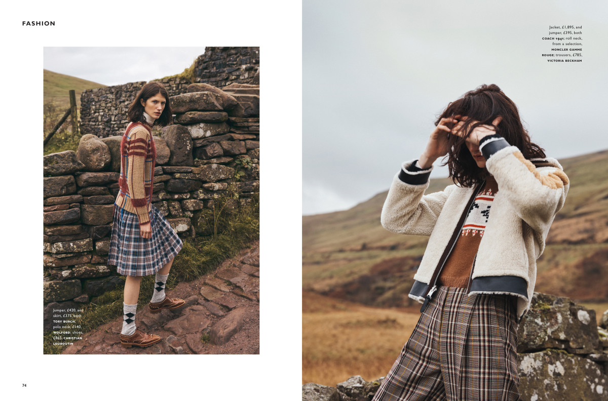 Join the clan, Highlands fashion story, Brian Daly photographer, Rachel Bakewell stylist, Claudine Blythman Makeup Artist, Gow Tanaka Hairstylist, Rodial Makeup, Brecon Beacons, Mountain Story, Grazia uk, Mila Ganame Next Models, Holly Scott Lidgett, Makeup Artist, Tartan Fashion story, barely there makeup, Naturel beauty makeup, Freckles, Androgynous Model,